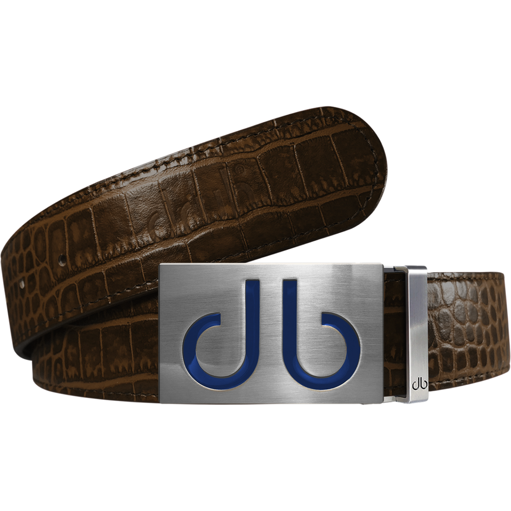 Brown Crocodile Textured Leather Belt with Blue Infill Buckle