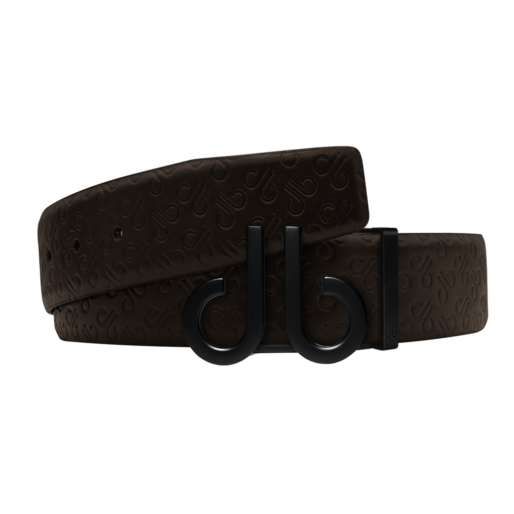 Brown Db Icon Pattern Embossed Leather Belt With Druh Db Black Icon Buckle