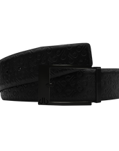 Black Db Icon Pattern Embossed Leather Belt With Black Classic Prong Buckle