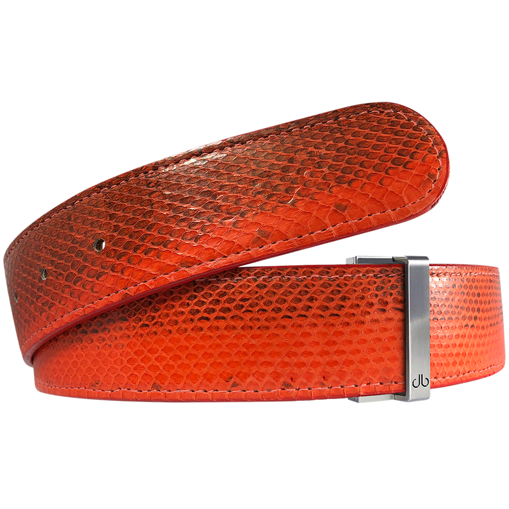Orange Snakeskin Leather Belt