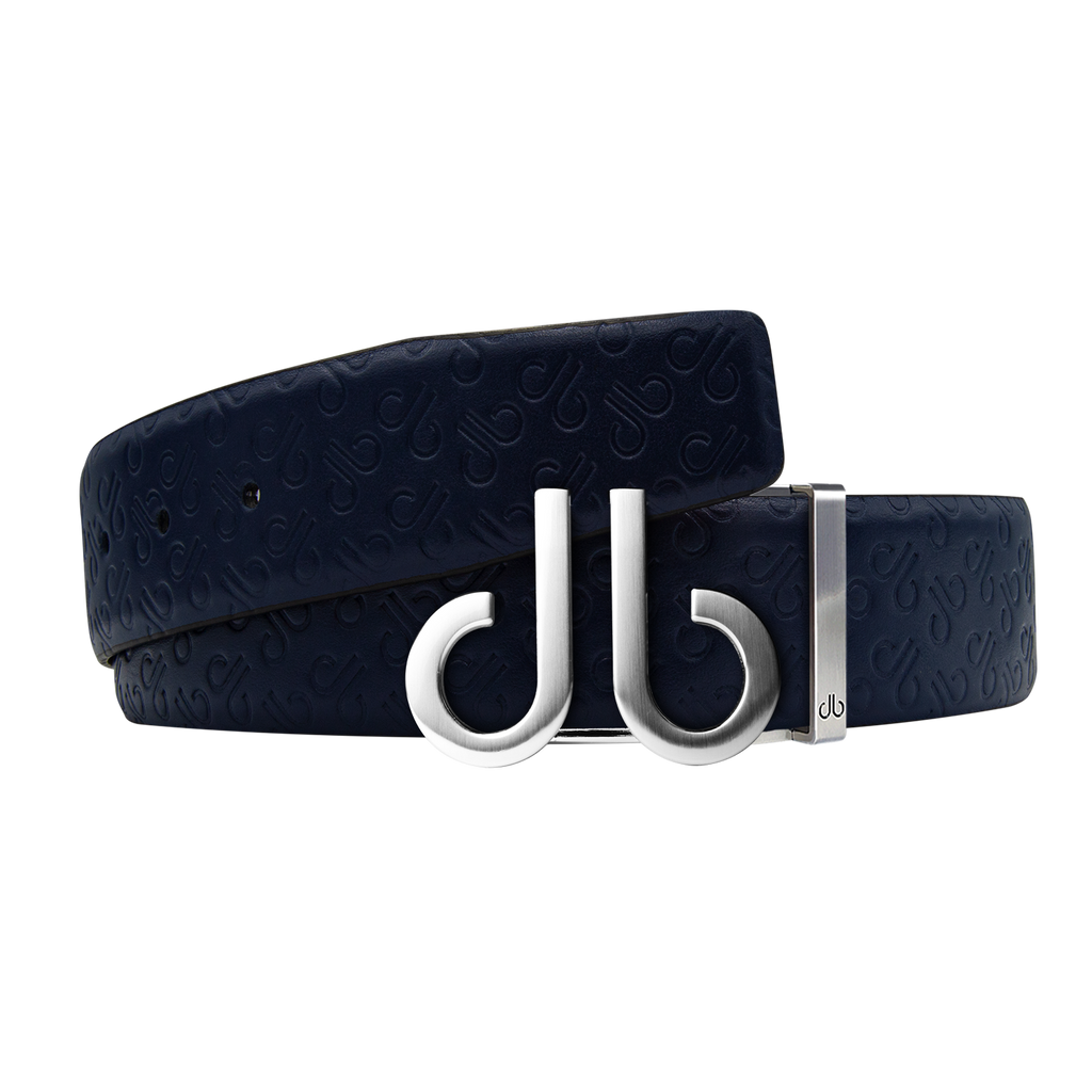 Dark Blue Db Icon Pattern Embossed Leather Belt With Druh Db Silver Icon Buckle