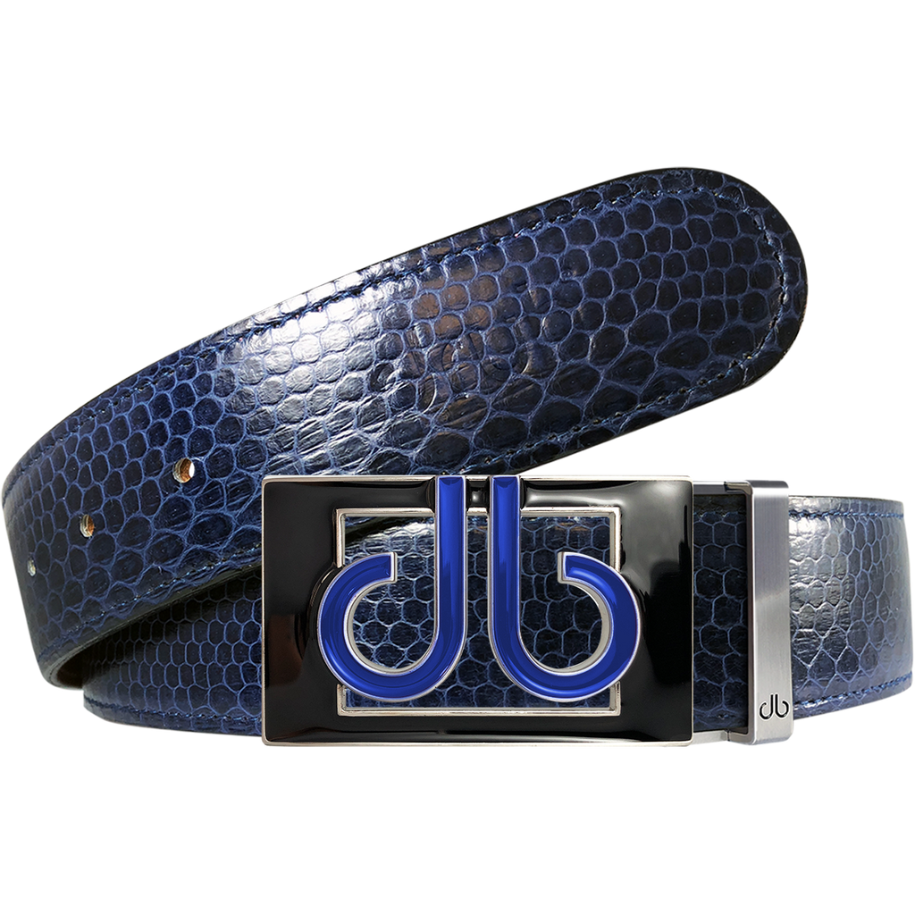 Blue Snakeskin Leather Belt with Buckle