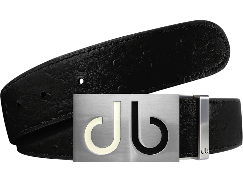 Black Ostrich Textured Leather Strap with Buckle