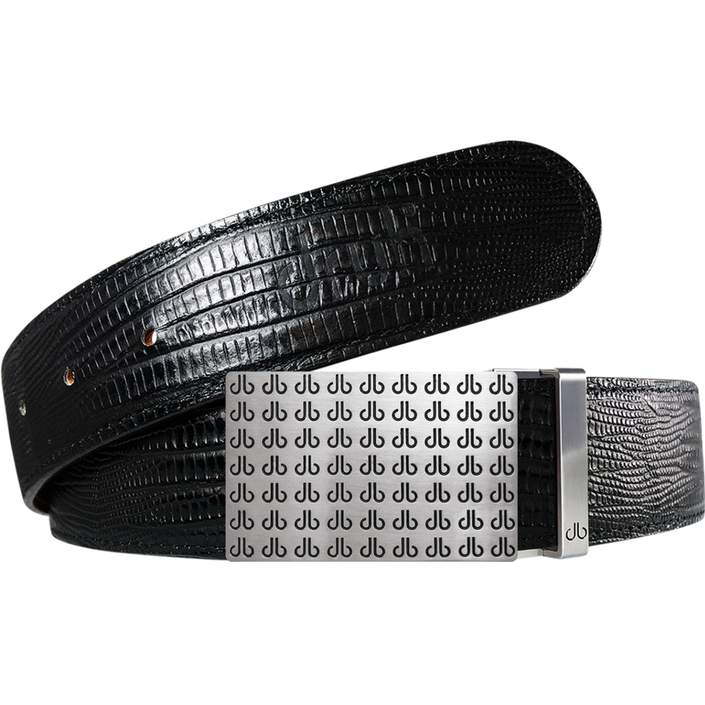 Black Lizard Textured Leather Belt with buckle