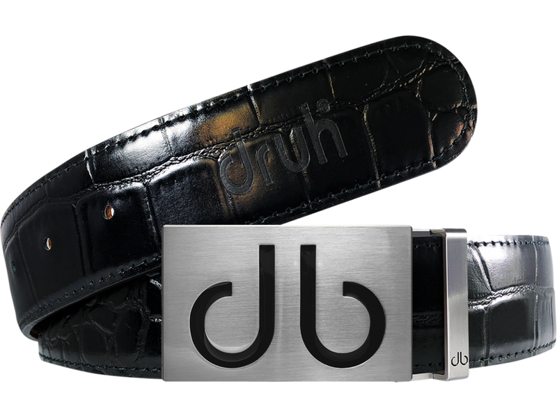 Black Crocodile Textured Leather Belt with Buckle