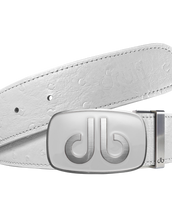 White Ostrich Texture Leather Strap with db Classic Stripe Buckle