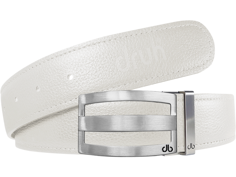 White Full Grain Textured Leather Strap with Buckle