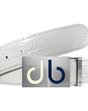 Two Tone Interchangeable Buckle with White Crocodile Texture Leather Belt