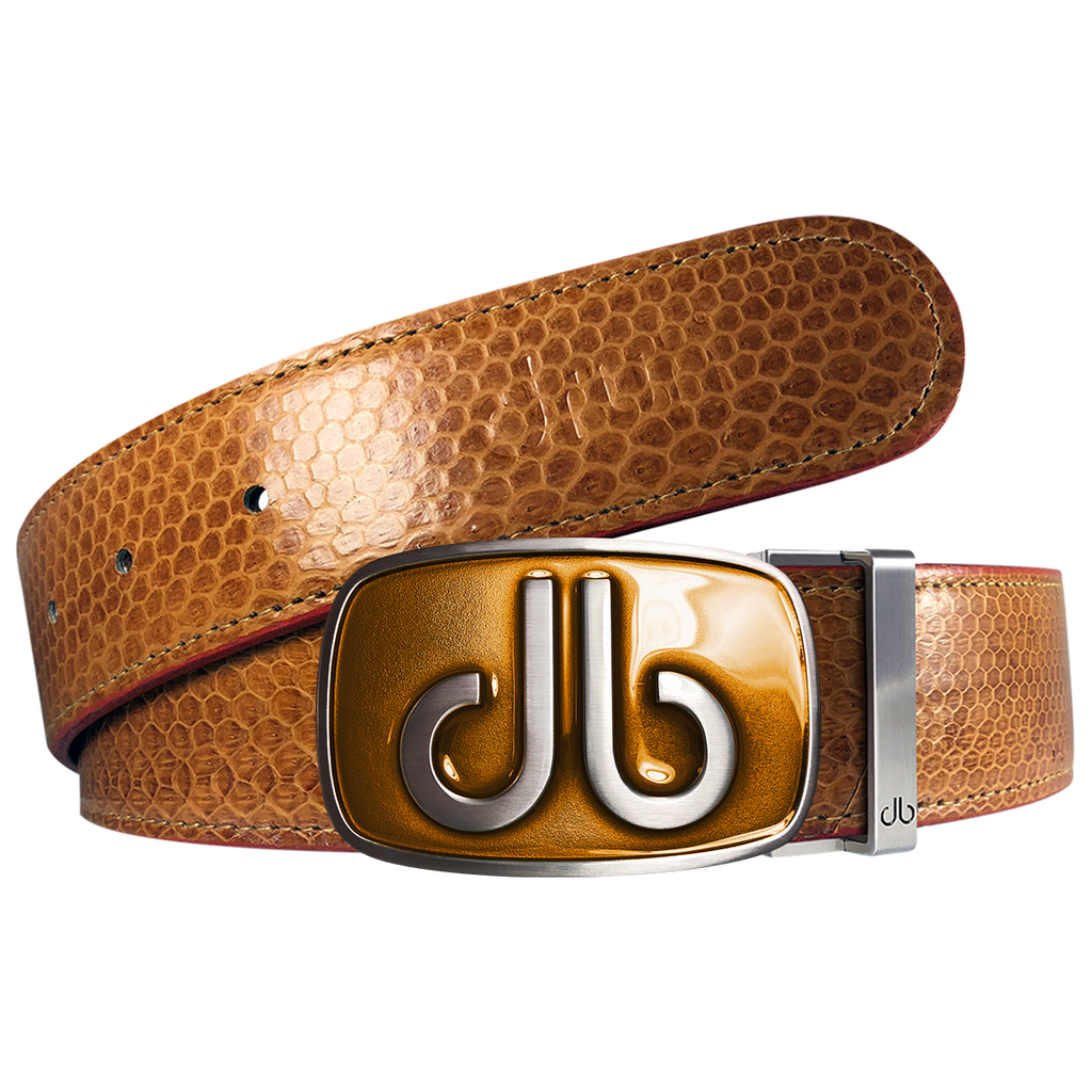 Brown Snakeskin Leather Belt with buckle