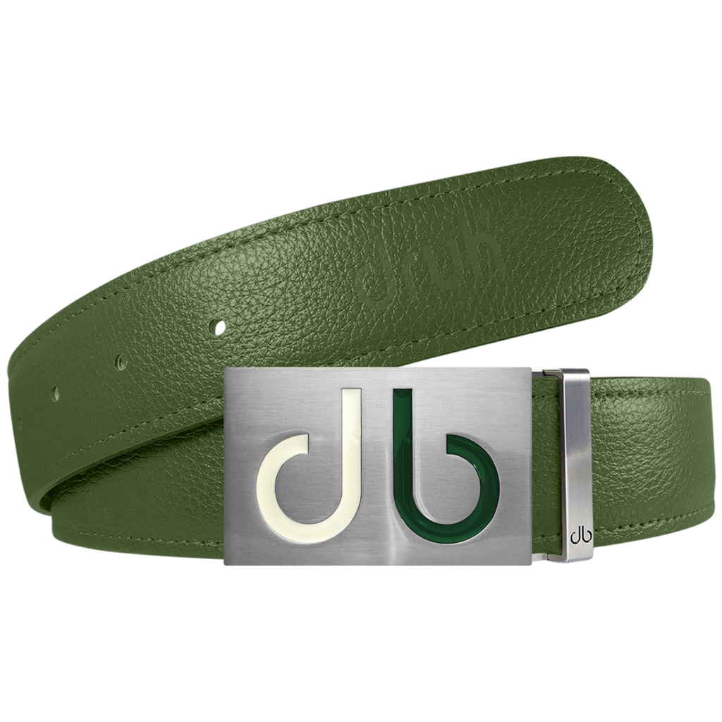 Green Full Grain Textured Leather Strap with Buckle