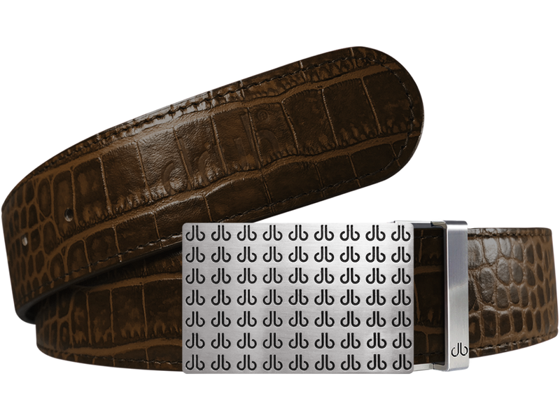 Dark Brown Crocodile Textured Leather Belt with Buckle