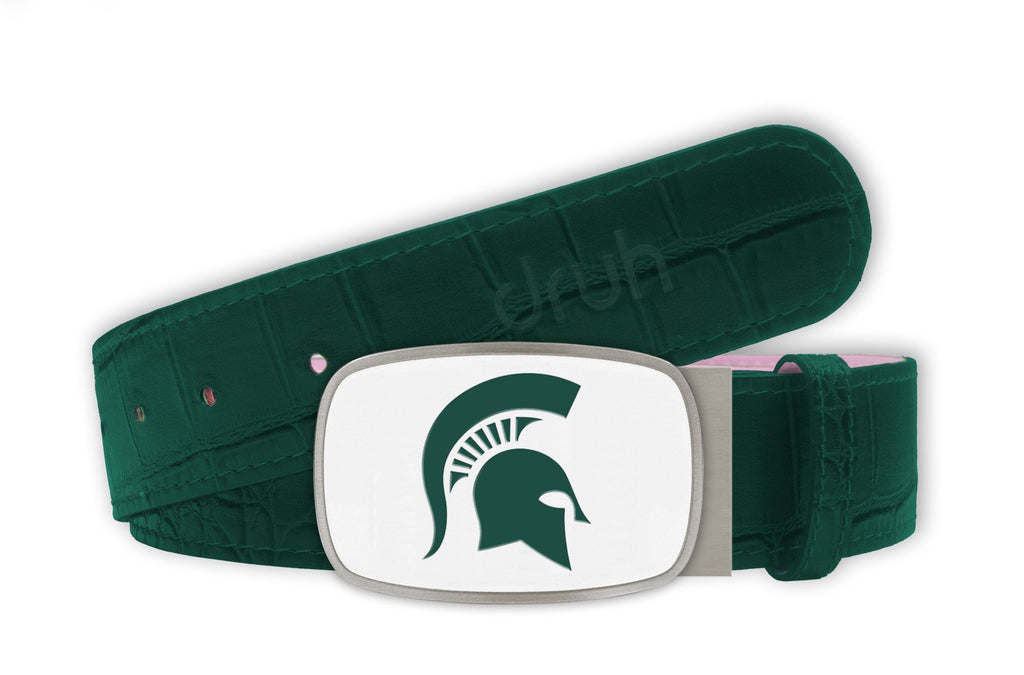 Michigan State University Belt - Big Buckle White Buckle with Green Crocodile Textured strap