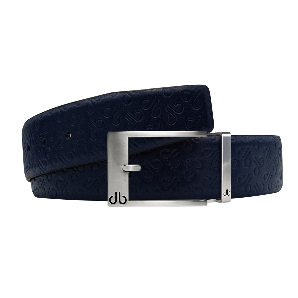 Dark Blue Db Icon Pattern Embossed Leather Belt With Silver Classic Prong Buckle
