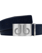 Dark Blue Db Icon Pattern Embossed Leather Belt With Silver Druh Db Classic Buckle