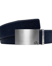 Dark Blue Db Icon Pattern Embossed Leather Belt With Silver Druh Db Classic Block Buckle