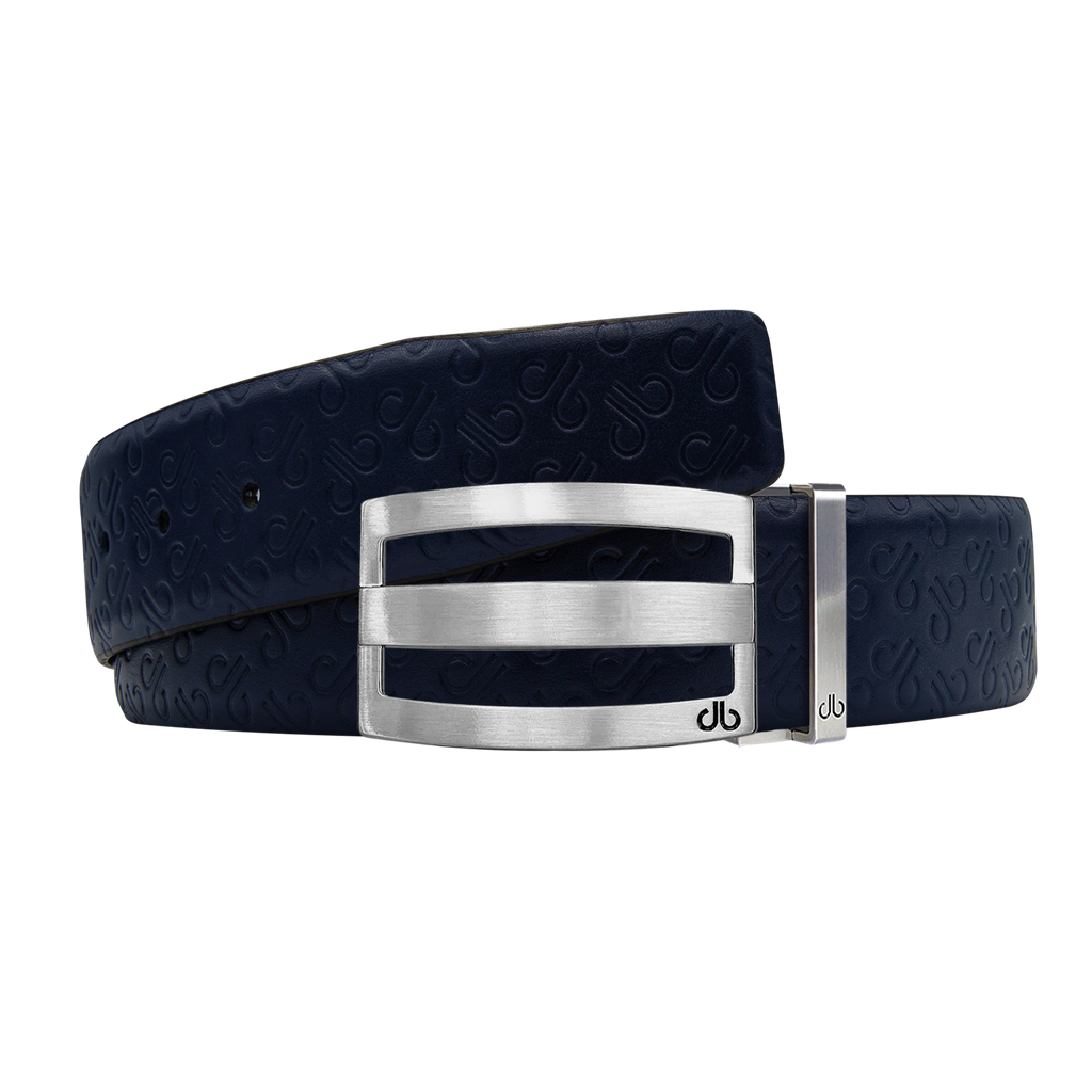 Dark Blue Db Icon Pattern Embossed Leather Belt With Silver Druh Db Classic Striped Buckle