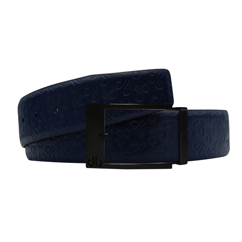 Dark Blue Db Icon Pattern Embossed Leather Belt With Black Classic Prong Buckle