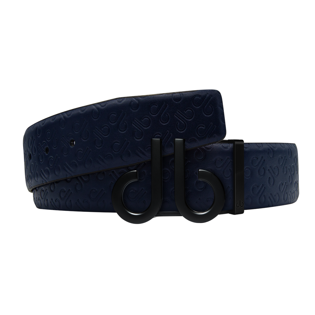 Dark Blue Db Icon Pattern Embossed Leather Belt With Druh Db Black Icon Buckle