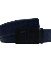 Dark Blue Db Icon Pattern Embossed Leather Belt With Black Db Classic Thru Buckle
