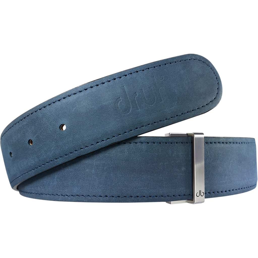 Blue Plain Textured Leather Belt