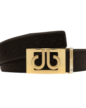 Brown Db Icon Pattern Embossed Leather Belt With Gold Db Classic Thru Buckle