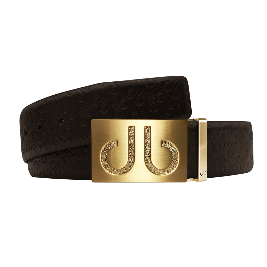 Brown Db Icon Pattern Embossed Leather Belt With Gold Druh Db Classic Buckle