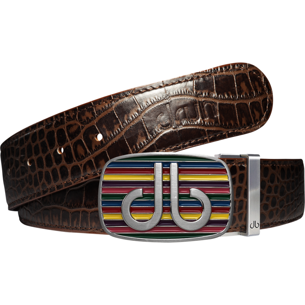 Brown Crocodile Textured Leather Belt with Multi-color Striped Buckle