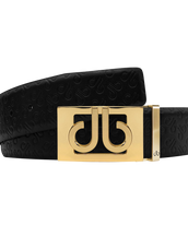 Black Db Icon Pattern Embossed Leather Belt With Gold Db Classic Thru Buckle
