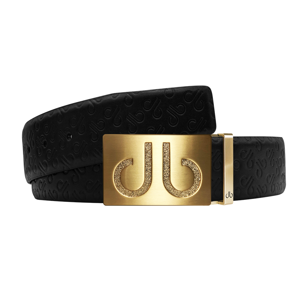 Black Db Icon Pattern Embossed Leather Belt With Gold Druh Db Classic Buckle