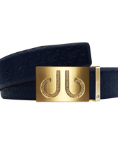 Dark Blue Db Icon Pattern Embossed Leather Belt With Gold Druh Db Classic Buckle