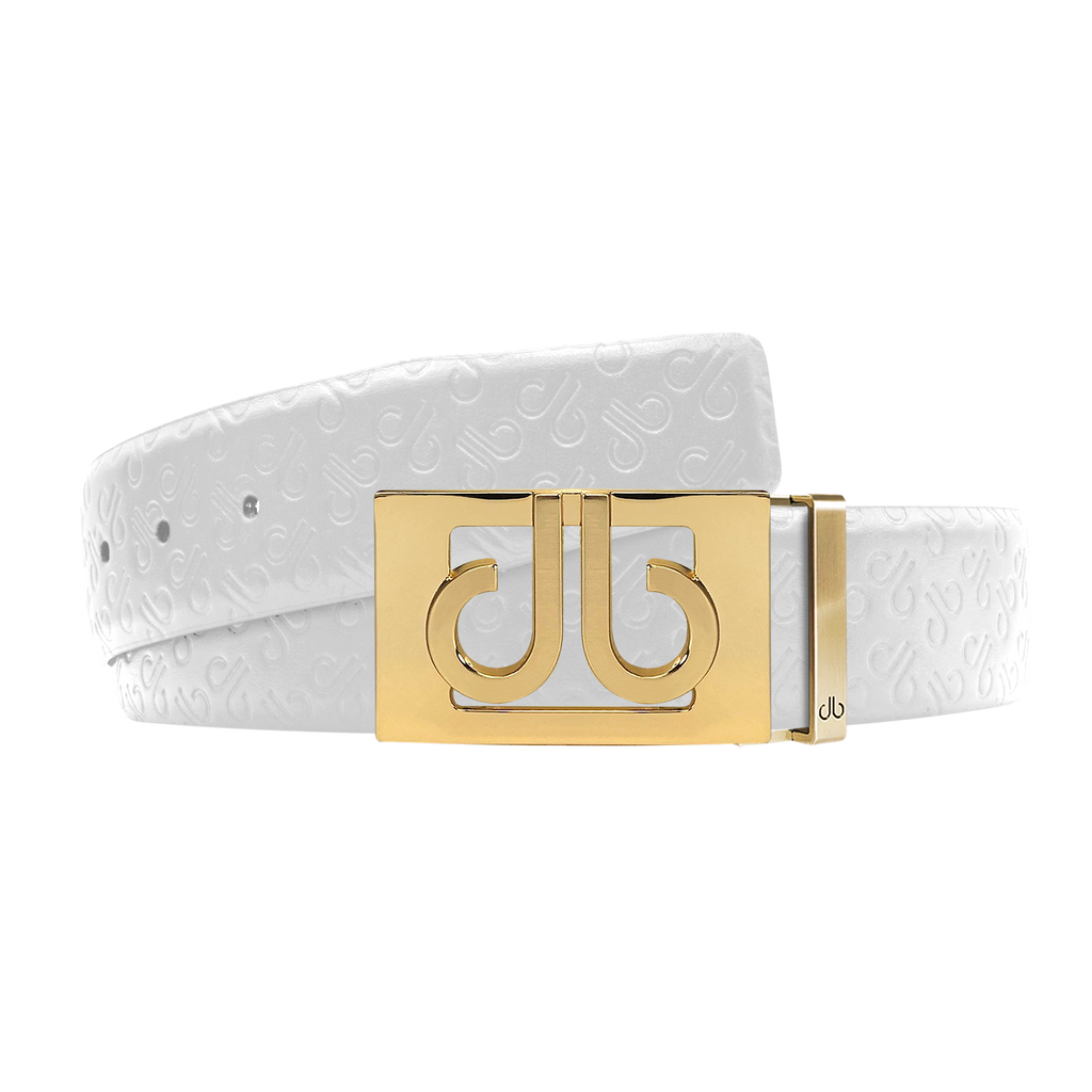 White Db Icon Pattern Embossed Leather Belt With Gold Db Classic Thru Buckle