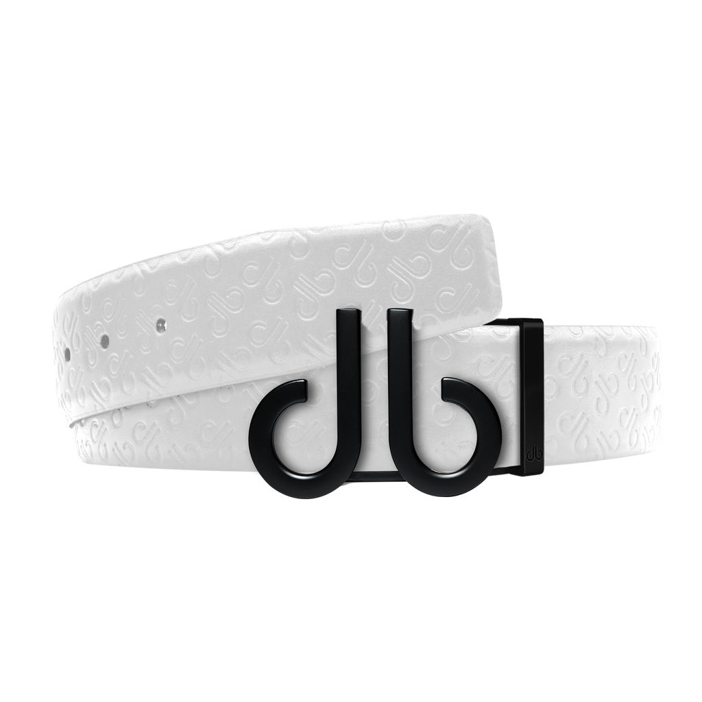 White Db Icon Pattern Embossed Leather Belt With Druh Db Black Icon Buckle