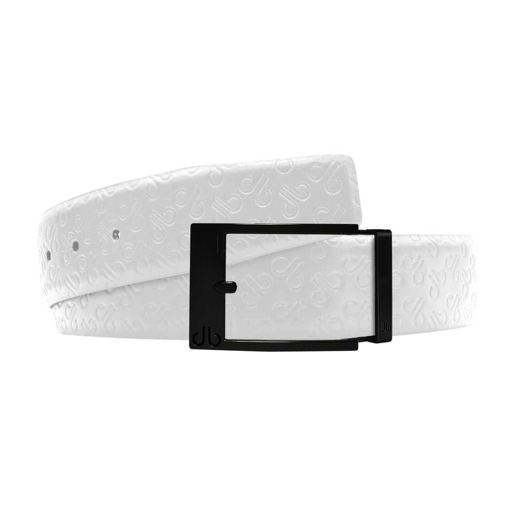 White Db Icon Pattern Embossed Leather Belt With Black Classic Prong Buckle