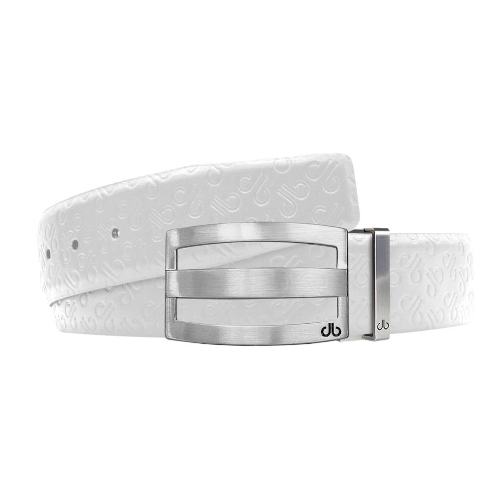White Db Icon Pattern Embossed Leather Belt With Silver Druh Db Classic Striped Buckle