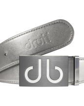Silver Plain Leather Texture Belt with White Infill Buckle