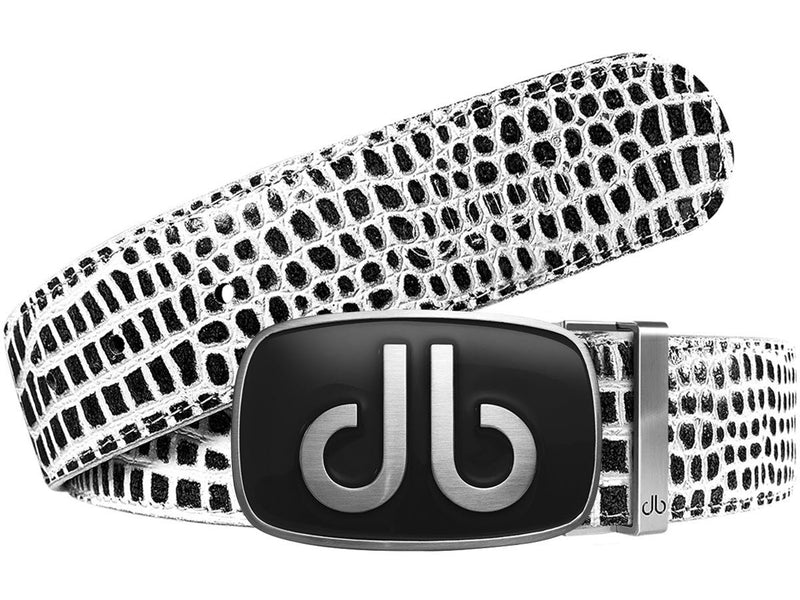Black and White Crocodile Textured Leather Belt with Black Giant Buckle