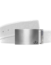 White Db Icon Pattern Embossed Leather Belt With Silver Druh Db Classic Block Buckle