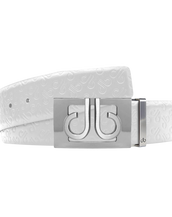 White Db Icon Pattern Embossed Leather Belt With Silver Db Classic Thru Buckle
