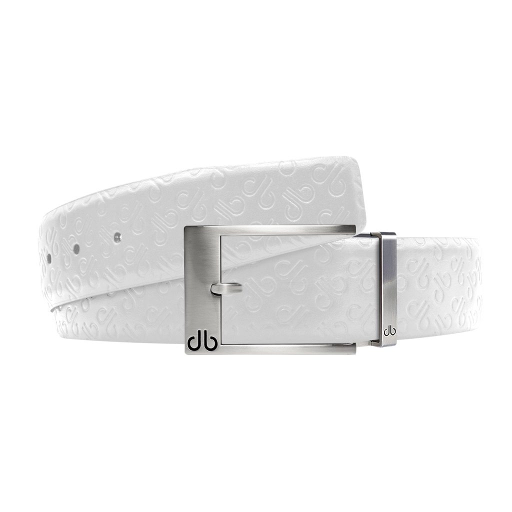 White Db Icon Pattern Embossed Leather Belt With Silver Classic Prong Buckle