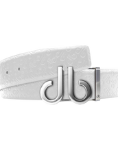 White Db Icon Pattern Embossed Leather Belt With Druh Db Silver Icon Buckle