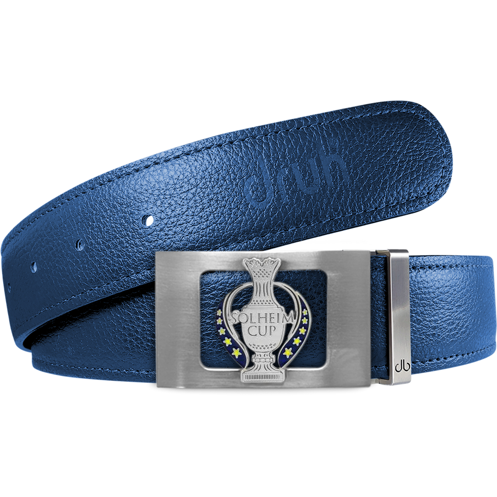 Blue Full Grain Textured Leather Strap with Solheim Cup