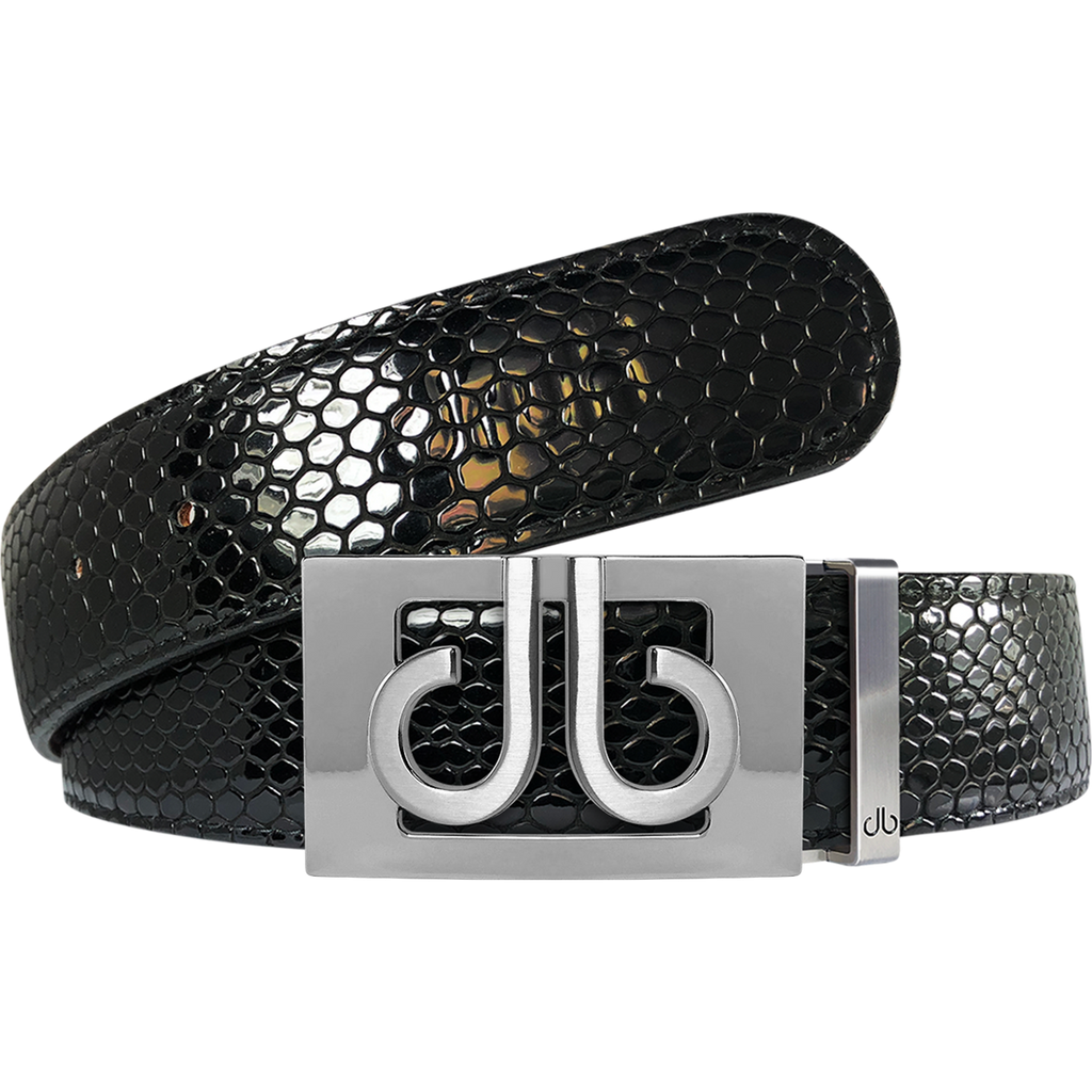 Black Snakeskin Textured Leather Belt with Classic Silver Thru Buckle