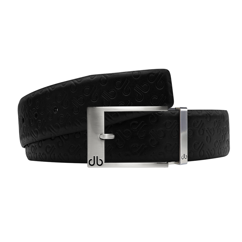 Black Db Icon Pattern Embossed Leather Belt With Silver Classic Prong Buckle