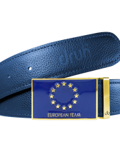 Blue Full Grain Textured Leather Strap with Team Europe