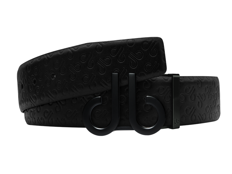 Black Db Icon Pattern Embossed Leather Belt With Druh Db Black Icon Buckle