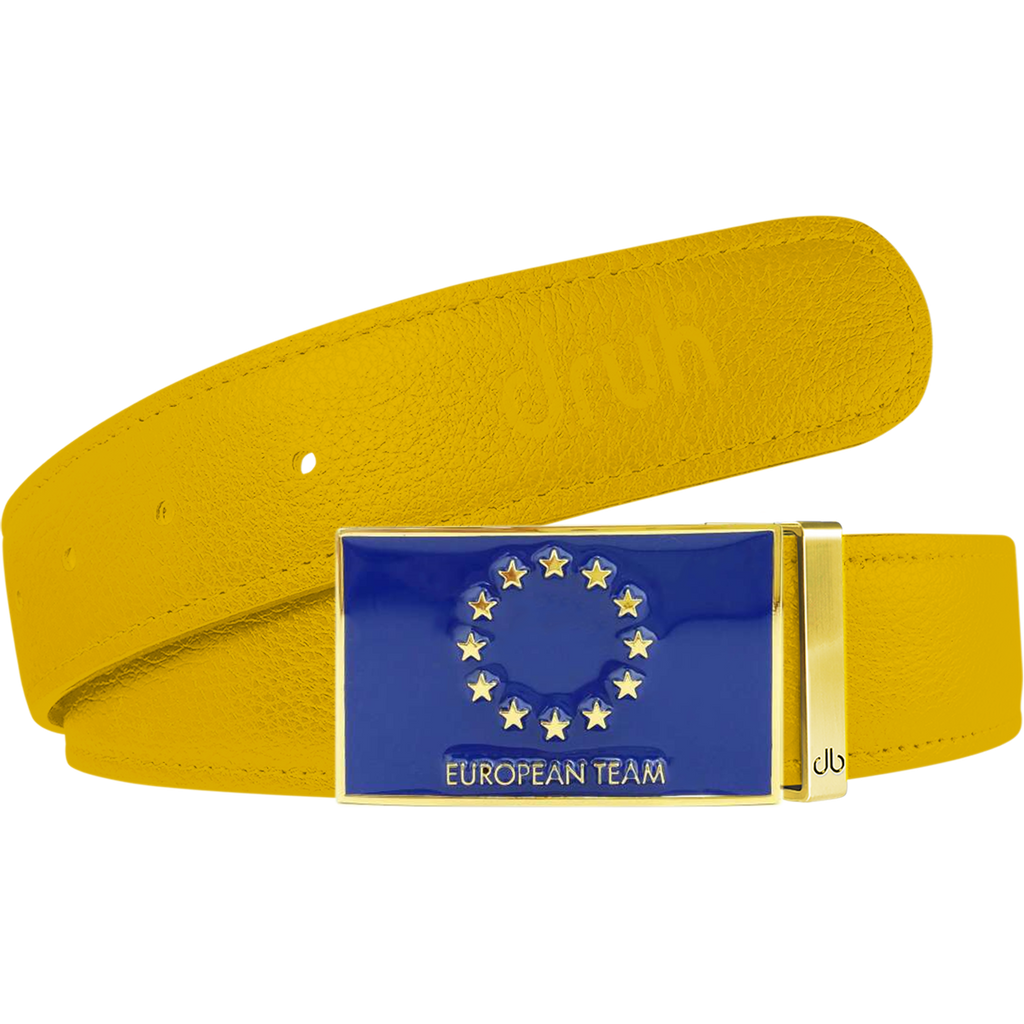 Yellow Full Grain Textured Leather Strap with Team Europe