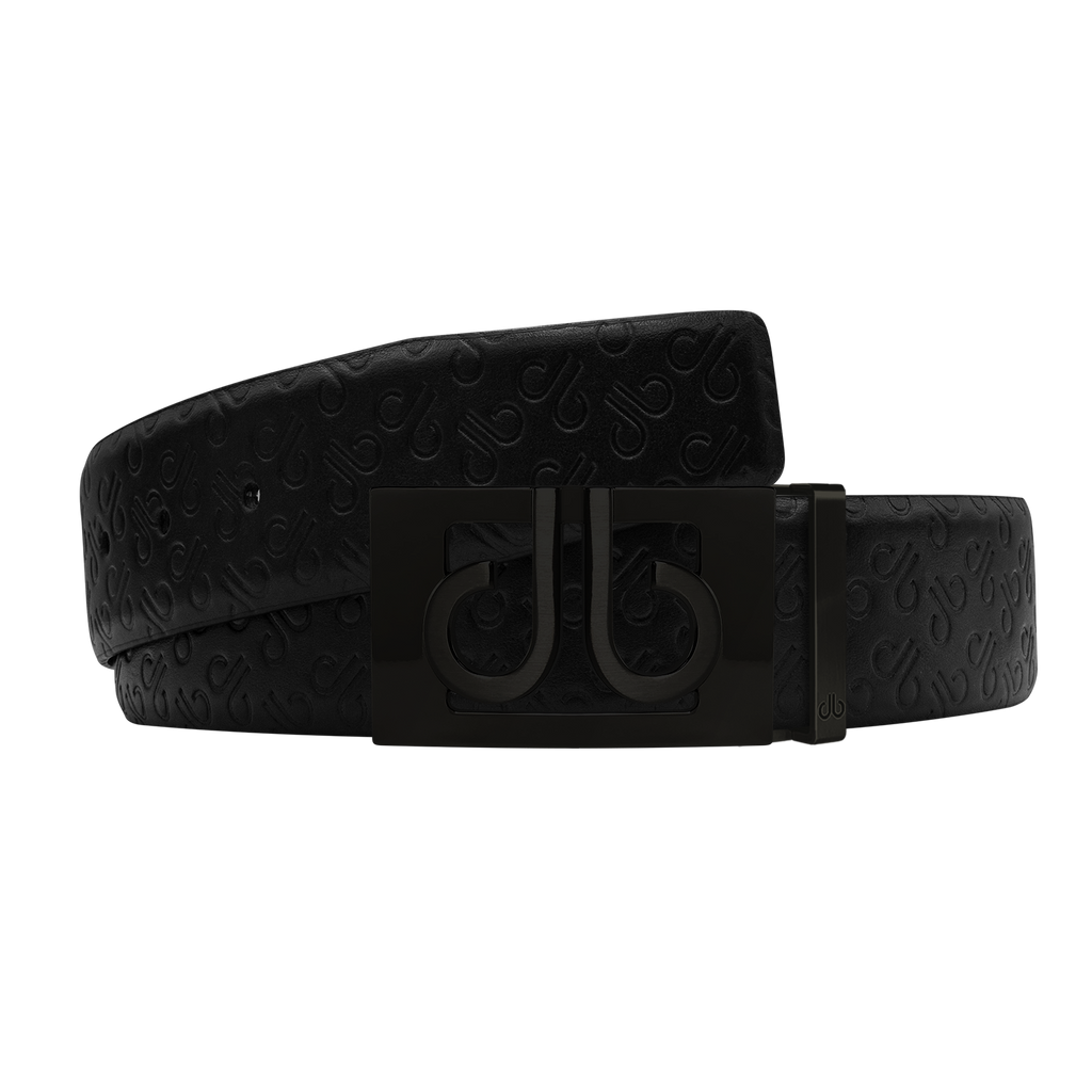 Black Db Icon Pattern Embossed Leather Belt With Black Db Classic Thru Buckle