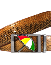 Arnold Palmer Snakeskin Leather Belt in Brown