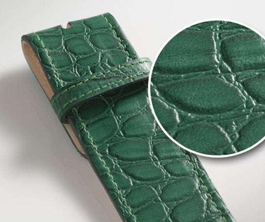 Green Crocodile Texture Leather Belt - Druh Belts and Buckles UK  - Mobile