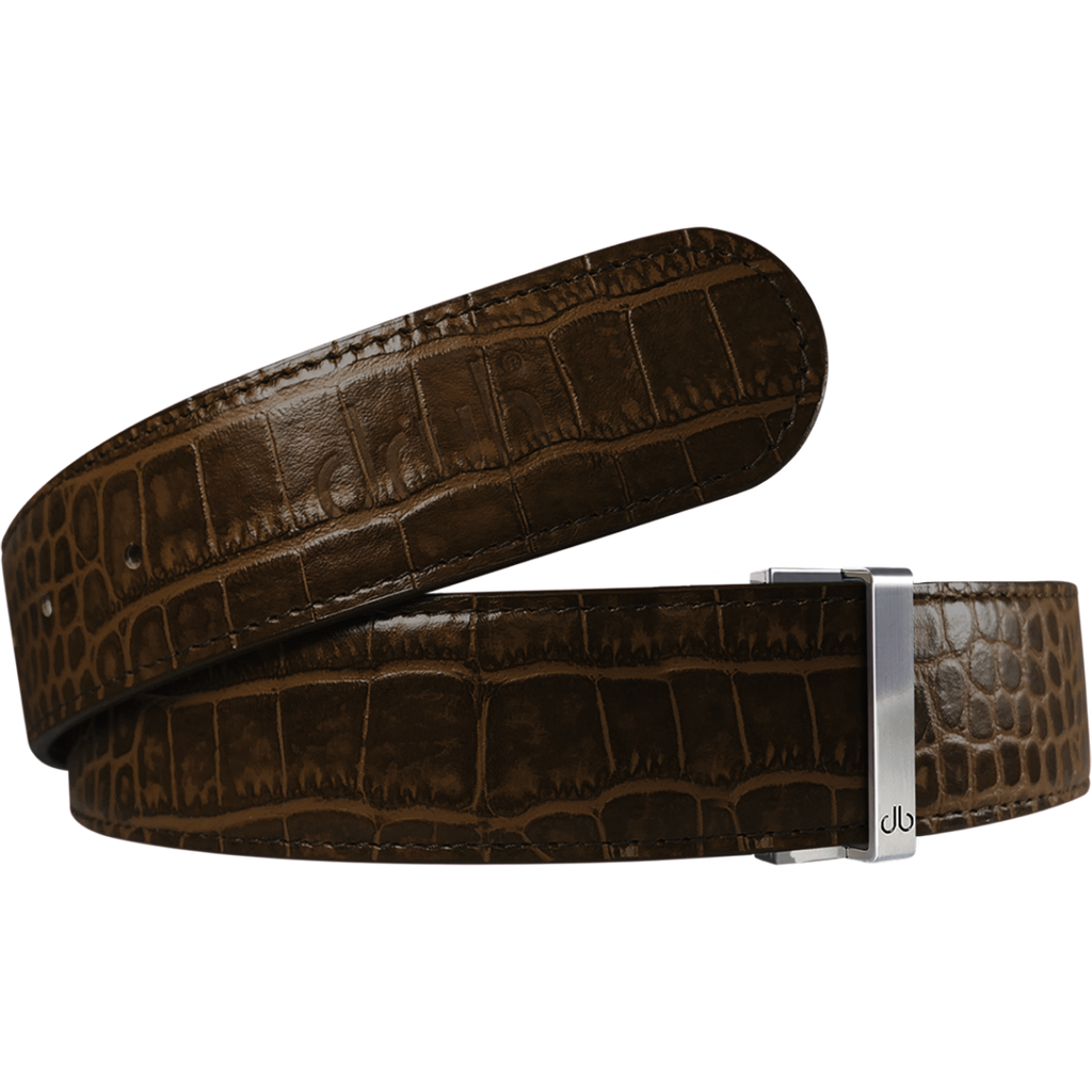 Brown Crocodile Textured Leather Belt